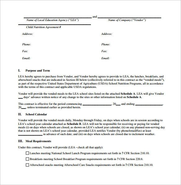 Simple Vendor Agreement Template Vendor Contract Template 8 Download Free Documents In