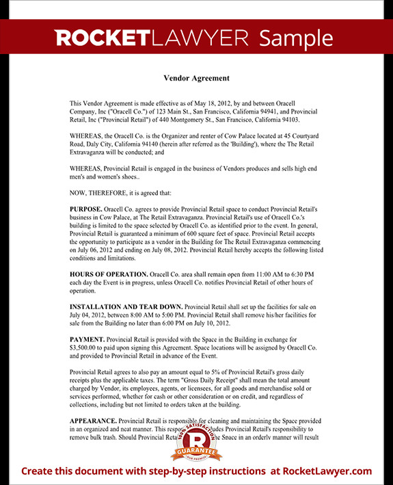 Simple Vendor Agreement Template Vendor Contract Template Create A Vendor Agreement with