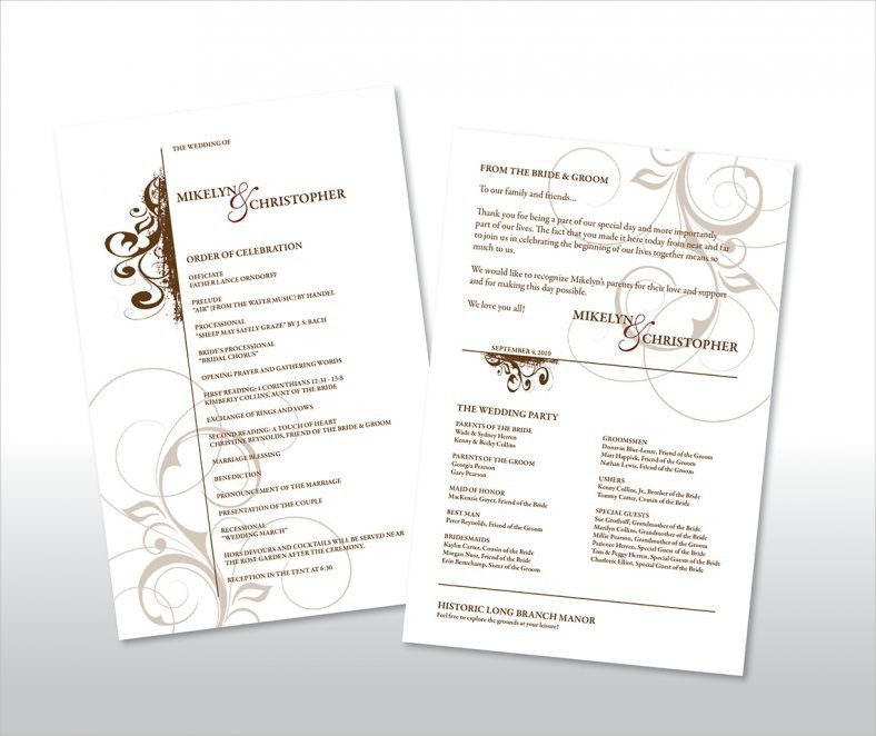 Simple Wedding Program Template 20 Wedding Program Templates – Free Sample Example