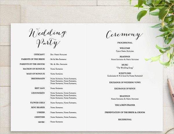 Simple Wedding Program Template 25 Wedding Program Templates Psd Ai Eps Publisher