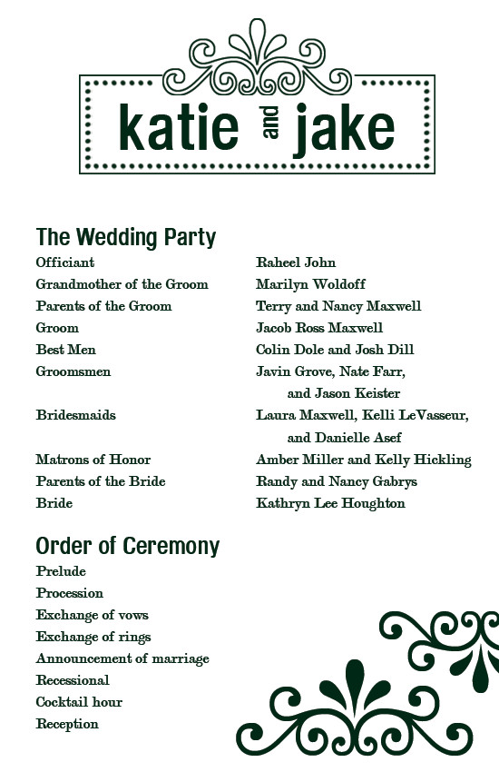 Simple Wedding Program Template Custom Printables Katie S Wedding Program