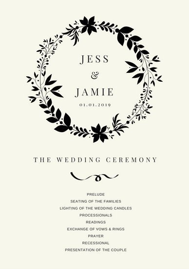 Simple Wedding Program Template Customize 66 Wedding Program Templates Online Canva