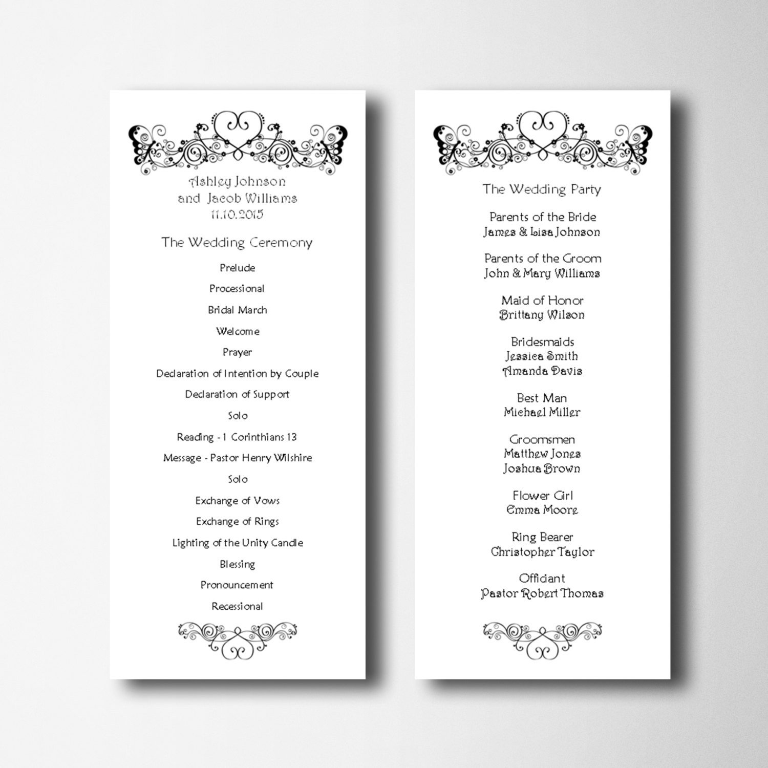 Simple Wedding Program Template Elegant Wedding Program Template Simple Wedding Program Card