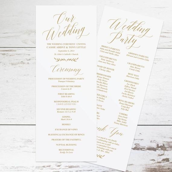 Simple Wedding Program Template Gold Wedding Programs Wedding Program Template Rustic