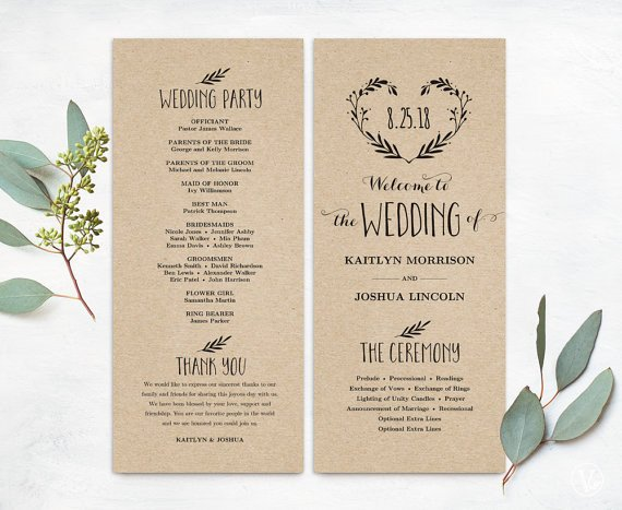 Simple Wedding Program Template Printable Wedding Program Template Simple Wedding Programs