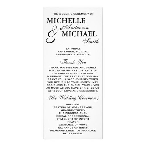 Simple Wedding Program Template Simple Elegant Wedding Program Rack Card Template
