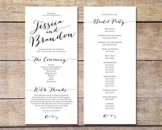 Simple Wedding Program Template Simple Wedding Program Customizable Elegant Design