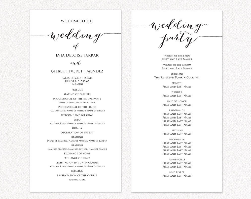 Simple Wedding Program Template Wedding Ceremony Program Templates · Wedding Templates and