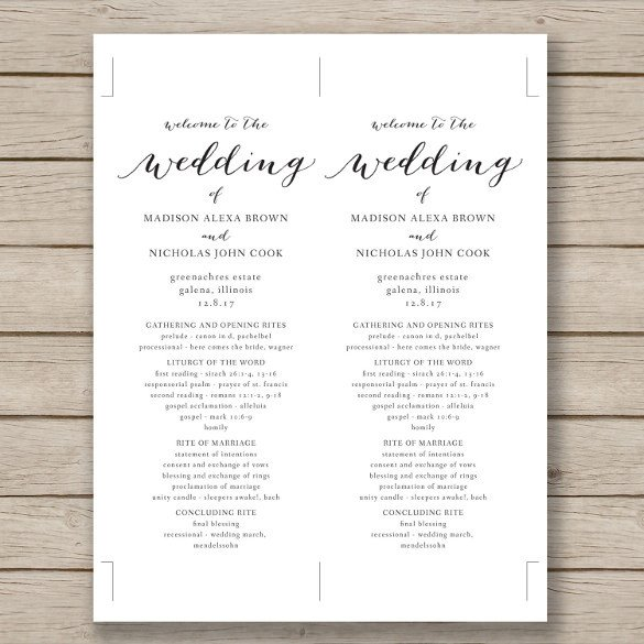 Simple Wedding Program Template Wedding Program Template 41 Free Word Pdf Psd