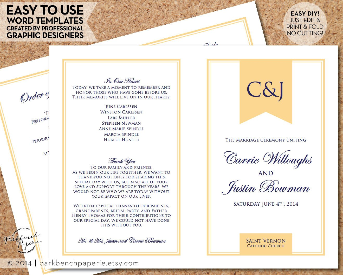 Simple Wedding Program Template Wedding Program Template Simple Banner butter Diy