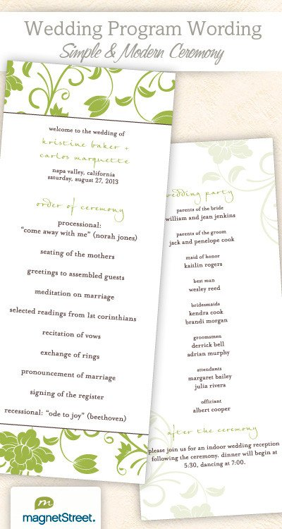 Simple Wedding Program Template Wedding Program Wording & Templateswedding Program Wording