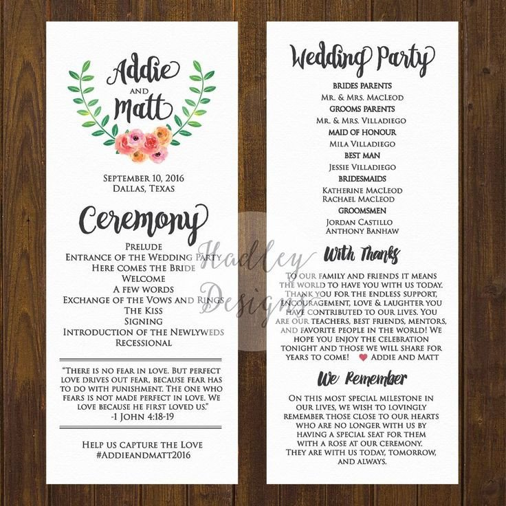 Simple Wedding Program Template Wedding Programs Wedding Ceremony Programs Wedding