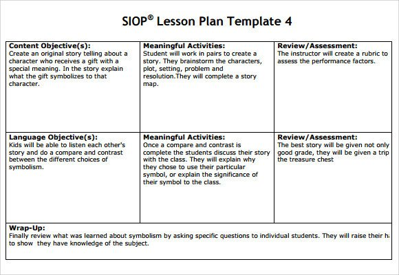 Siop Lesson Plan Template 2 8 Siop Lesson Plan Templates Download Free Documents In