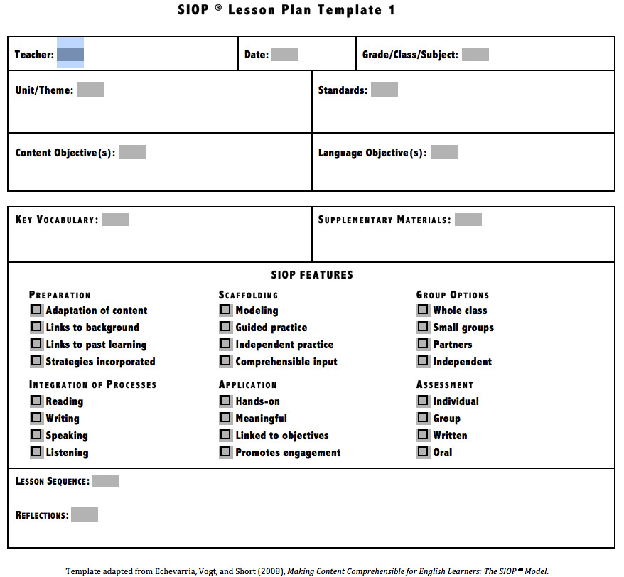 Siop Lesson Plan Template 2 Download Siop Lesson Plan Template 1 2