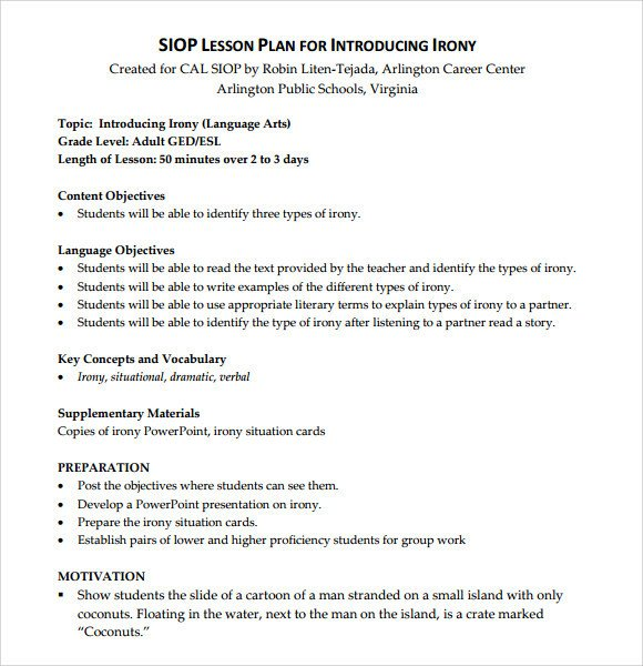 Siop Lesson Plan Template 2 Sample Siop Lesson Plan 9 Documents In Pdf Word