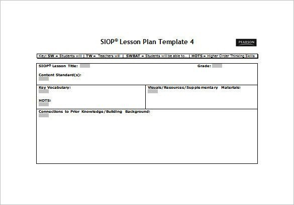 Siop Lesson Plan Template 2 Siop Lesson Plan Template Free Word Pdf Documents
