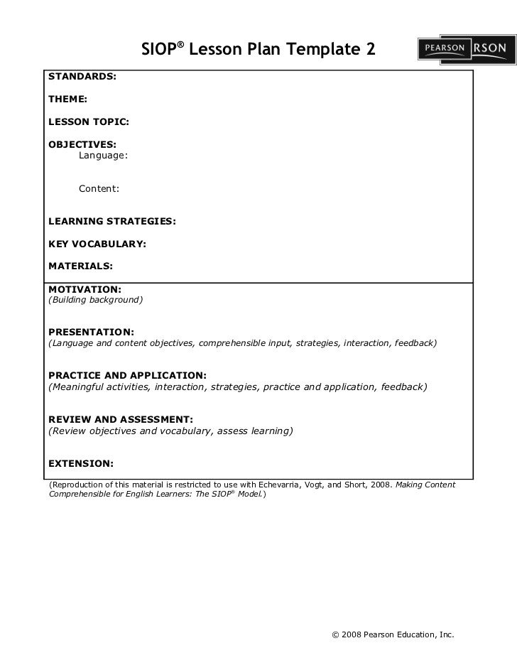 Siop Lesson Plan Template 2 Siop Lesson Plan Template2