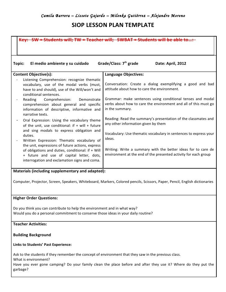 Siop Lesson Plan Template 2 Siop Unit Lesson Plan Template Sei Model