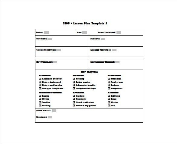 Siop Lesson Plan Template Editable Lesson Plan Template Pdf – Weekly Lesson Plan