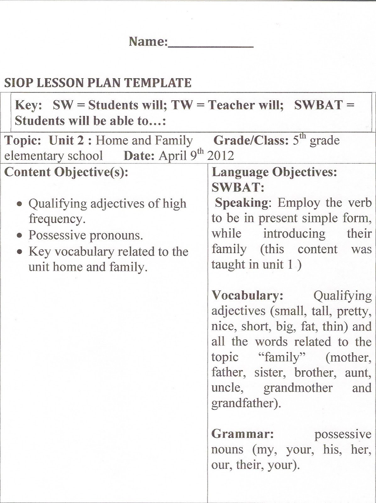 Siop Lesson Plan Template Learning About Methodology Hands On Activities