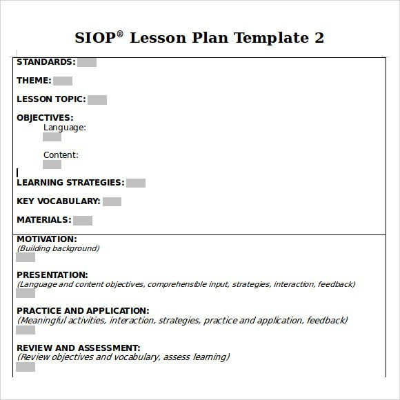 Siop Lesson Plan Template Sample Siop Lesson Plan 9 Documents In Pdf Word