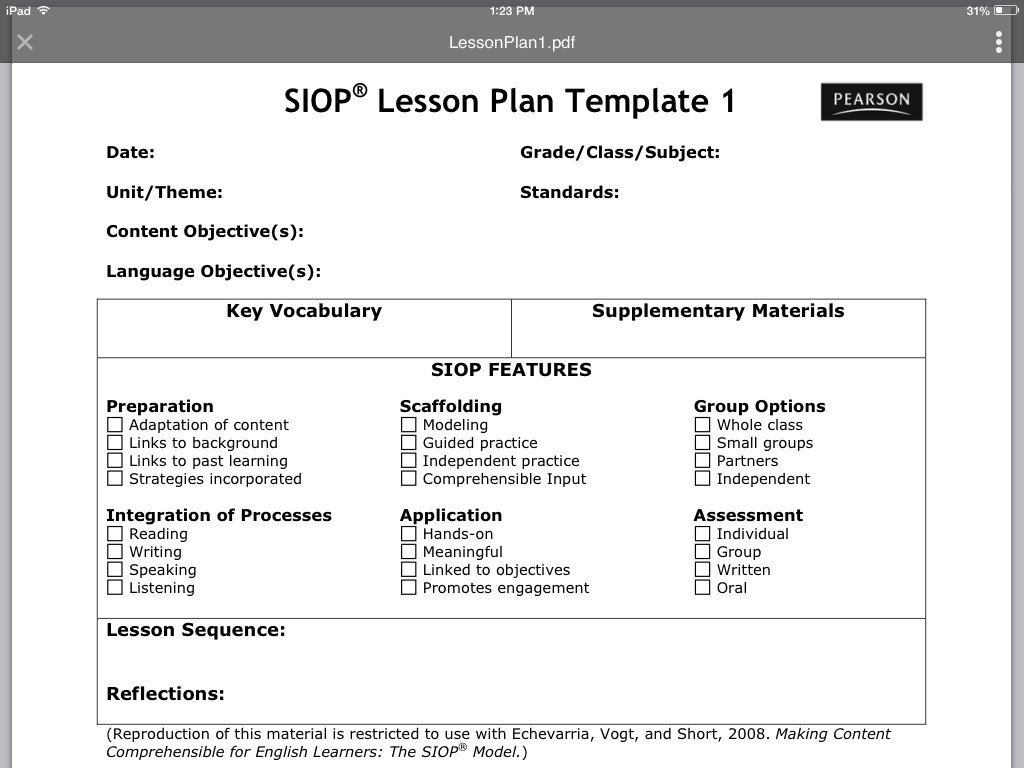Siop Lesson Plan Template Siop Lesson Plan Template 1