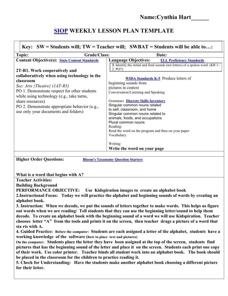 Siop Lesson Plan Template Siop Lesson Plan Template