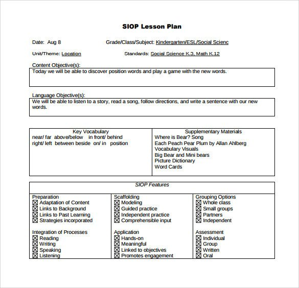 Siop Lesson Plan Template Siop Lesson Plan Templates – 9 Examples In Pdf Word format