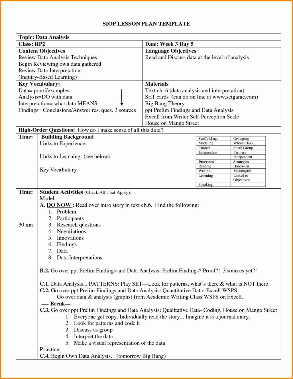 Siop Model Lesson Plan Template 14 Swbat Unterrichtsplanvorlage