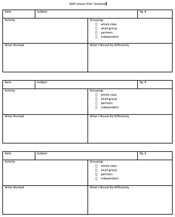 Siop Model Lesson Plan Template Download Siop Lesson Plan Template 1 2