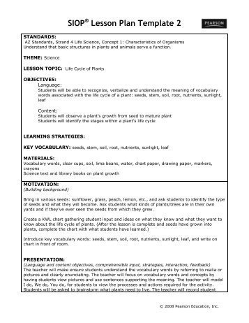 Siop Model Lesson Plan Template Sei 301 Week 2 Unit Plan Siop Lesson Uoptutorial