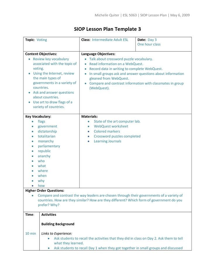 Siop Model Lesson Plan Template Types Of Lesson Plan Templates