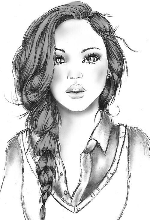 Sketch Of A Girl Girl Drawing Art Pinterest
