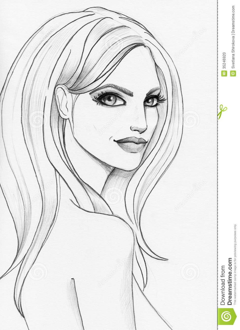 Sketch Of A Girl Pencil Sketch A Beautiful Girl Stock Illustration