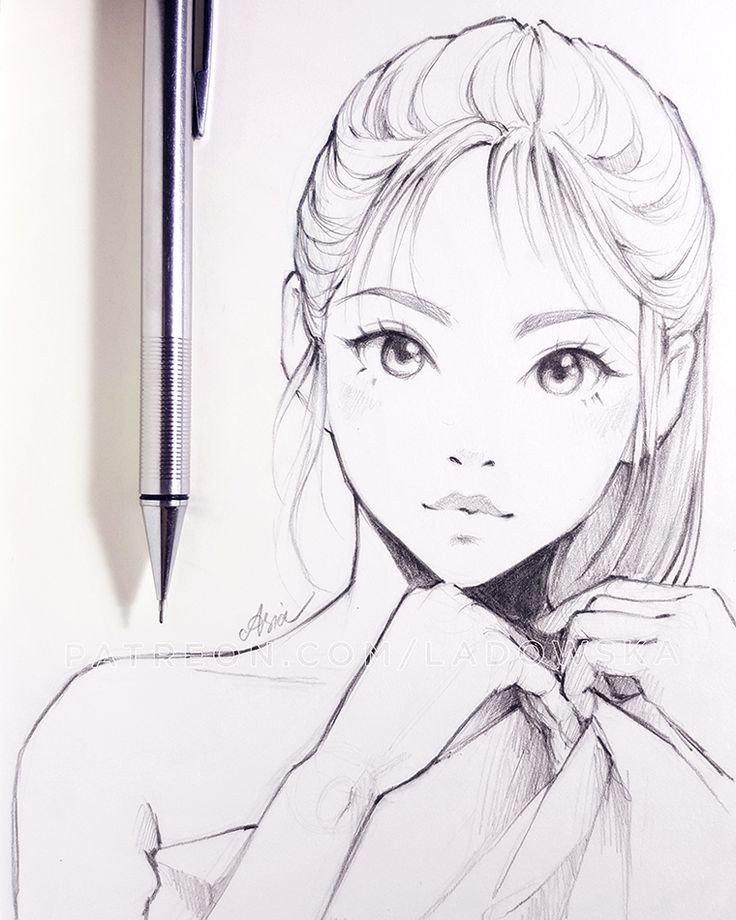 Sketch Of Girl Face Best 25 Girl Sketch Ideas On Pinterest