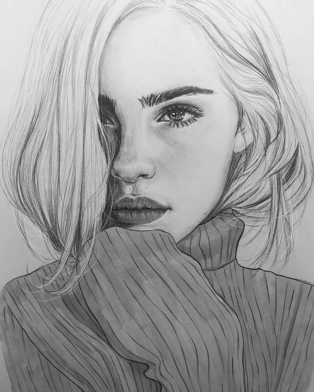 Sketch Of Girl Face I Love Blackandwhite Drawings I Love