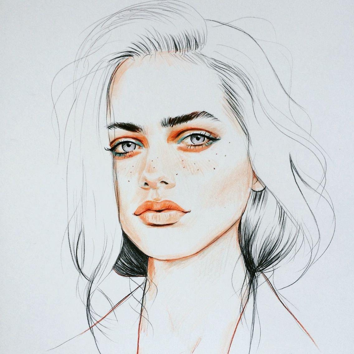 Sketch Of Girl Face Pinterest Noortjedr Drawing ️ Pinterest