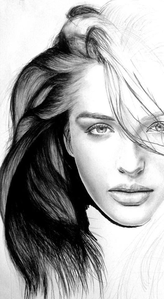 Sketch Of Girl Face Realistic Drawings Female Faces Drawing Faces
