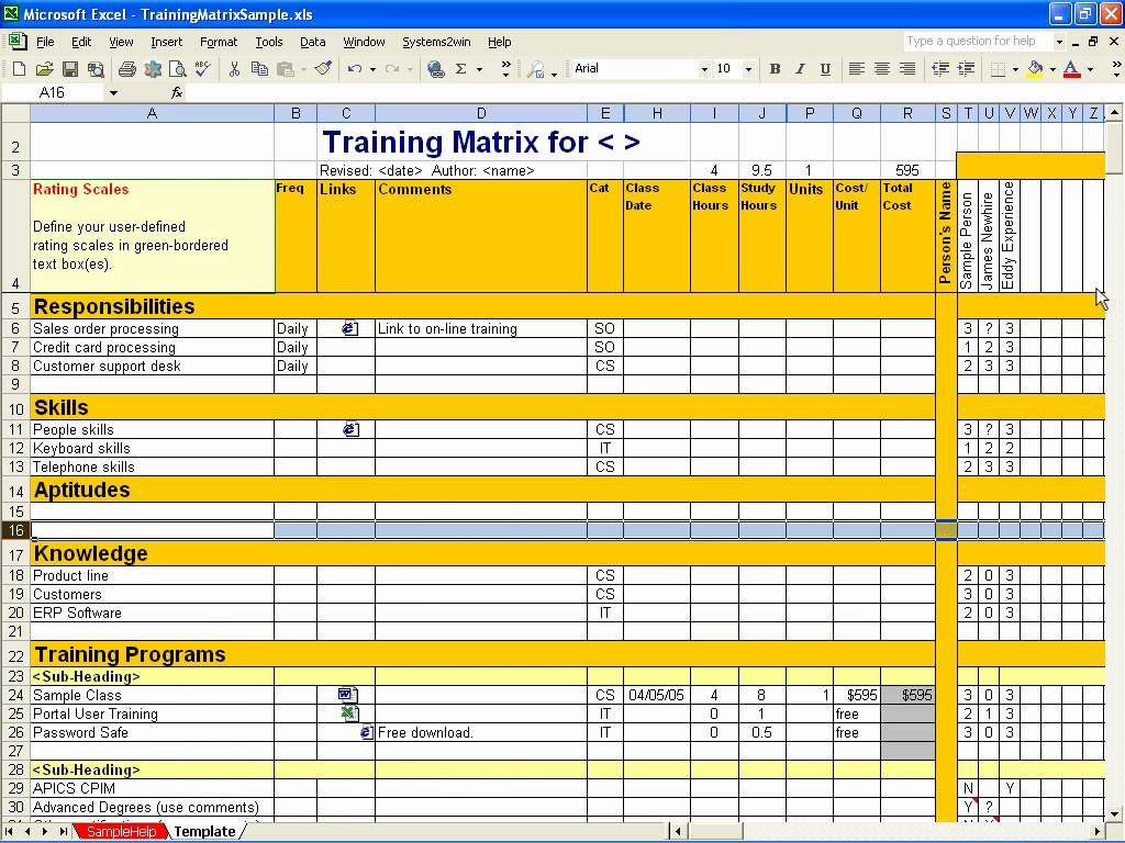 Skills Matrix Template Excel Employee Training Matrix Template Excel