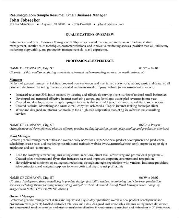 Small Business Owner Resume 54 Manager Resumes In Pdf