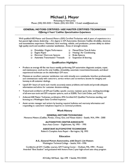 Small Business Owner Resume Auto Mechanic and Small Business Owner Resume