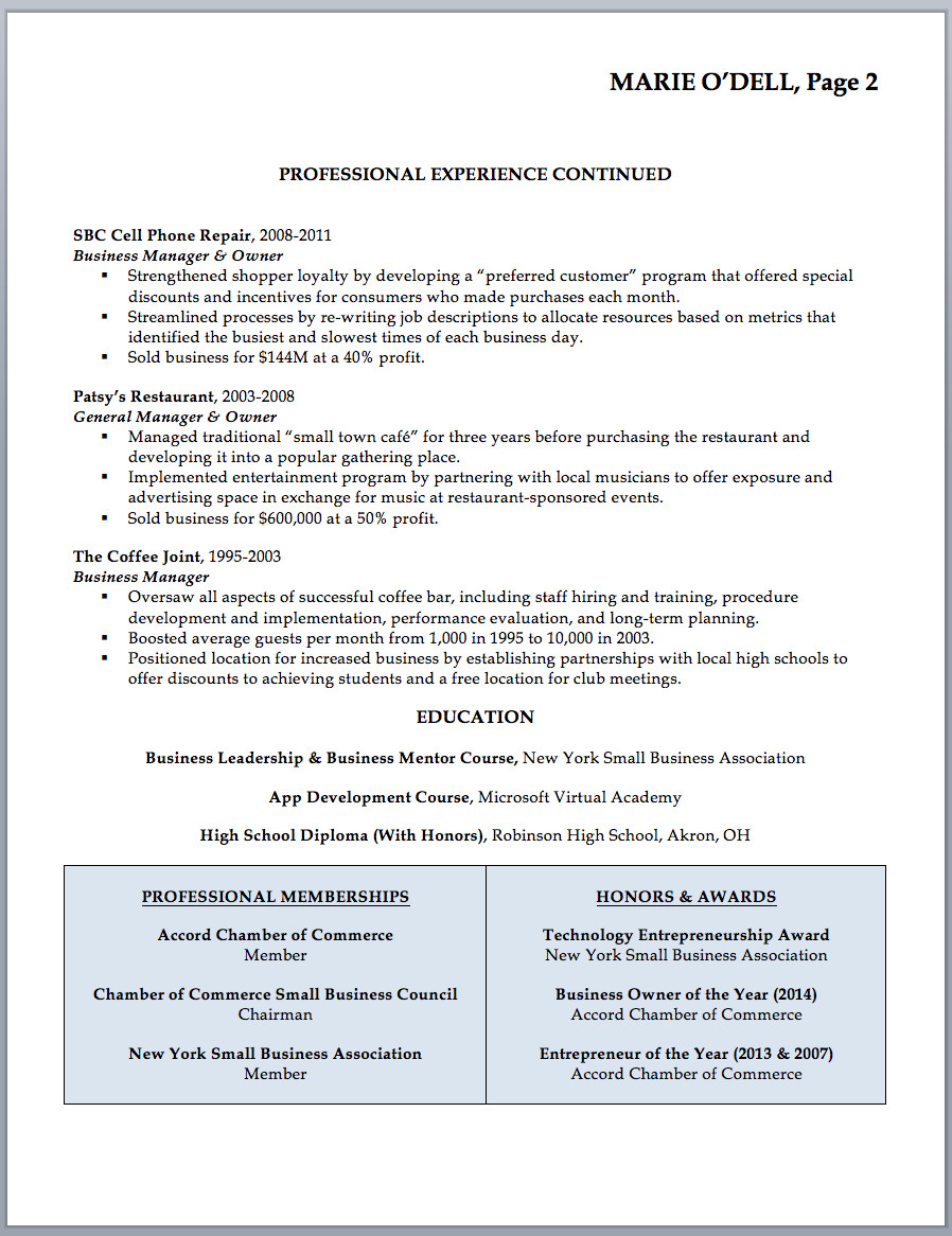 Small Business Owner Resume Business Owner Resume Sample & Writing Guide