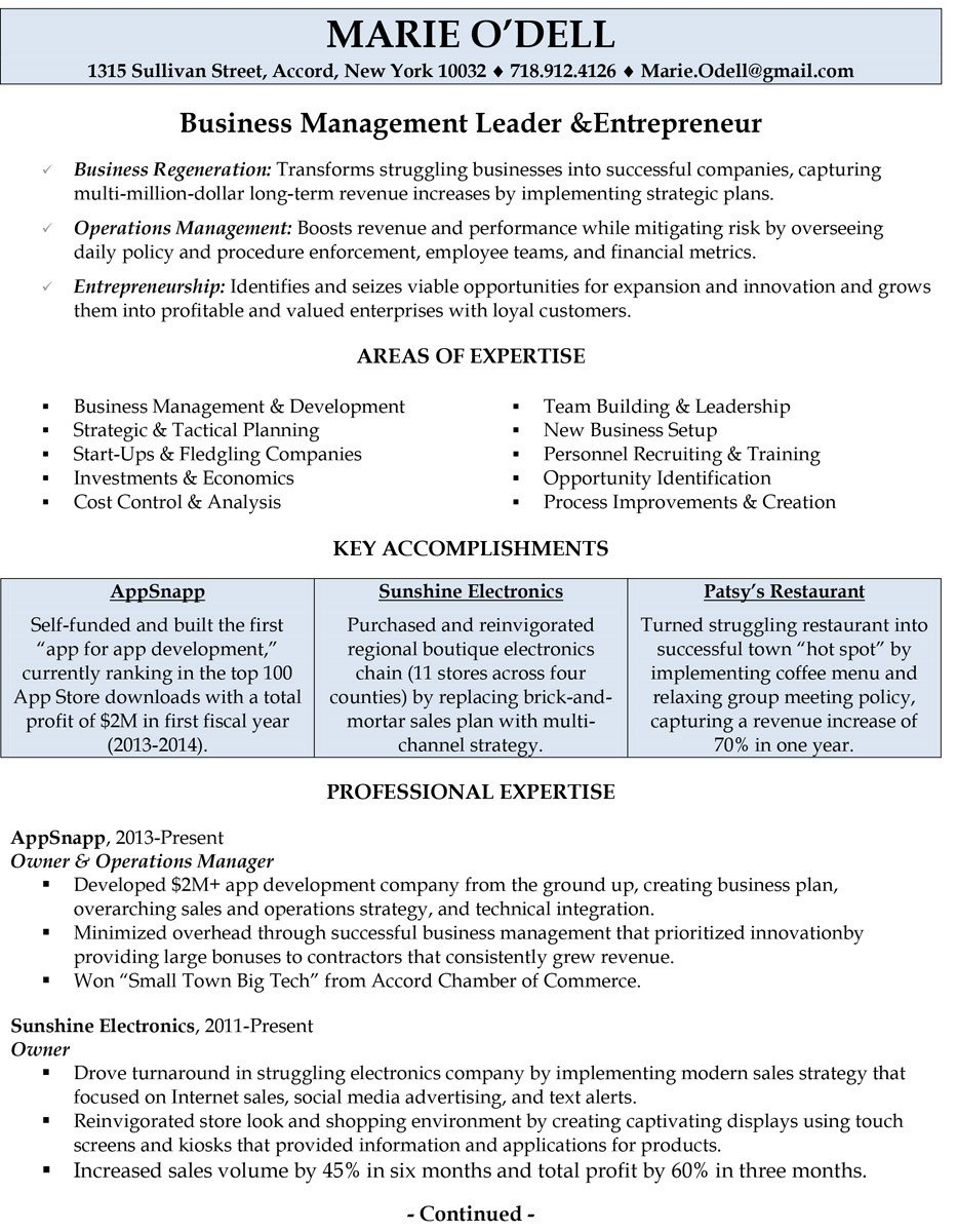 Small Business Owner Resume Professionally Written Resume Samples Rwd