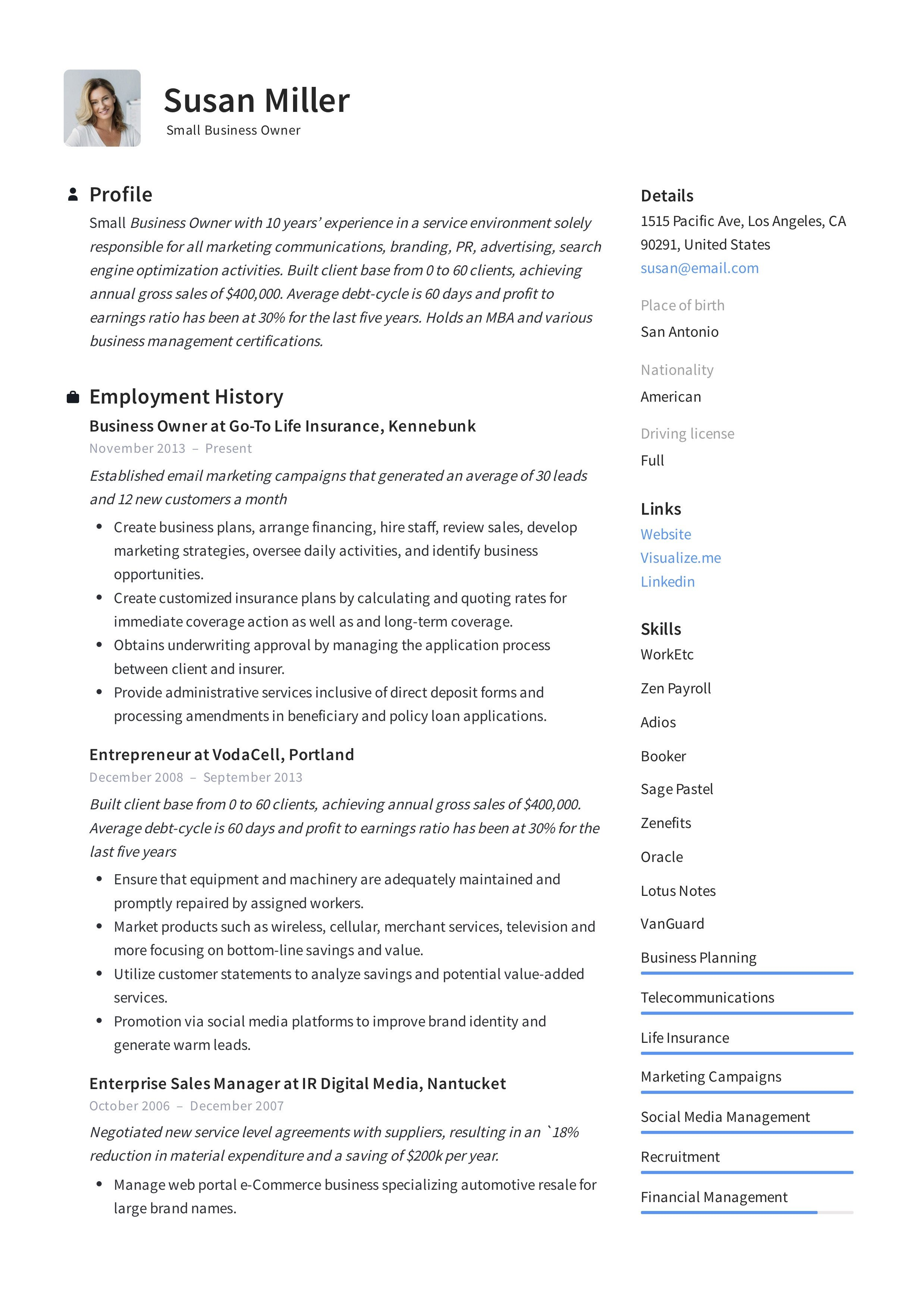 Small Business Owner Resume Small Business Owner Resume Guide 12 Examples Pdf