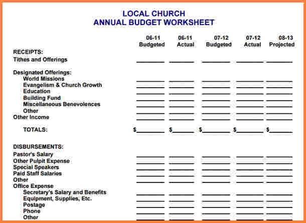 Small Church Budget Template 10 Sample Church Bud Spreadsheet