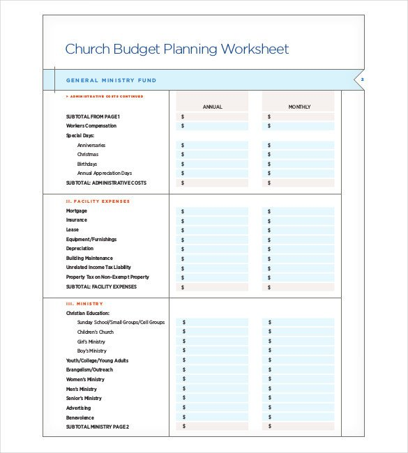 Small Church Budget Template Church Bud Template
