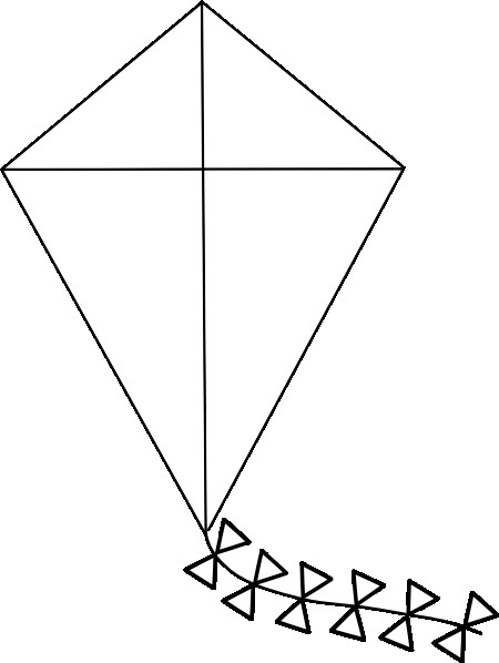 Small Kite Template Kite Outline Clip Art at Clker Vector Clip Art