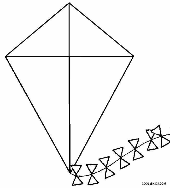 Small Kite Template Printable Kite Coloring Pages for Kids