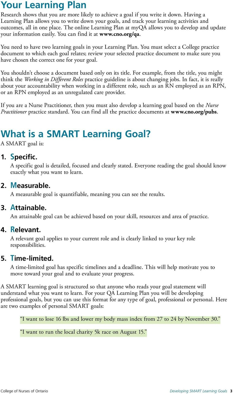 Smart Nursing Goals Examples 9 10 Personal Smart Goals Examples