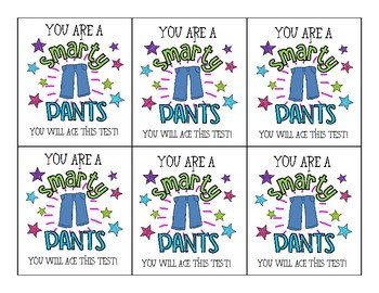 "Smartie Pants Printable Template ""smarty Pants"" Testing Tags by Mrs Wolfe In Elementary"